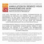 Avis important - Développement de la situation (COVID-19) : Annulation du Rendez-vous panquébécois 2020, suspension maintenue des finales locales et régionales de Secondaire en spectacle